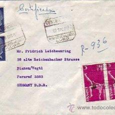 Sellos: FRANCO Y DEPORTES EN CARTA CERTIFICADA 1960 MONFORTE DE LEMOS (LUGO) A D.R.A. AMBULANTE. MPM.. Lote 8016025