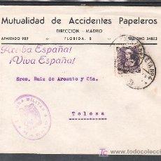 Sellos: .091 SOBRE MADRID A TOLOSA, FRANQUEO 858 MATASELLO ESTAFETA Nº 4, CENSURA M-1-1 VIOLETA, MARCA PATRI. Lote 10731250