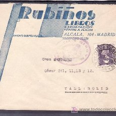 Sellos: .093 SOBRE MADRID A VALLADOLID, FRANQUEO 858, MATASELLO ESTAFETA SUCURSAL Nº 10 MADRID, CENSURA M-1-. Lote 10731256