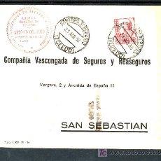 Sellos: .121 SOBRE TOLEDO A SAN SEBASTIAN, FRANQUEO 823 CON MATASELLO CARTERIA 3º REPARTO 23/8/38 Y CENSURA . Lote 10764209