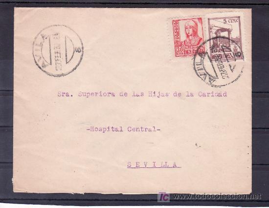 .131 SOBRE AVILA A SEVILLA, FRANQUEO 823 Y LOCAL AVILA G90 MATASELLADO 27 FEB. 37 (Sellos - Historia Postal - Sello Español - Sobres Circulados)