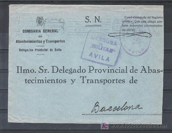 .135 SOBRE AVILA A BARCELONA, FRANQUICIA /COMISARIA GENERAL DE ABASTECIMIENTOS/ VIOLETA Y CENSURA A- (Sellos - Historia Postal - Sello Español - Sobres Circulados)