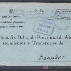 Sellos: .135 SOBRE AVILA A BARCELONA, FRANQUICIA /COMISARIA GENERAL DE ABASTECIMIENTOS/ VIOLETA Y CENSURA A-. Lote 10780035