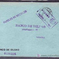 Sellos: .149 SOBRE BURGOS (BANCO BILBAO) A ZARAGOZA, /SIN FRANQUEO/ CON MATASELLO Y CENSURA B-81-4A VIOLETA. Lote 10780027