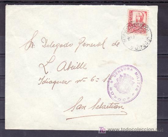 .158 SOBRE MELGAR DE FERNAMENTAL A SAN SEBASTIAN, FRANQUEO 823 Y CENSURA B-81-2 EN VIOLETA (Sellos - Historia Postal - Sello Español - Sobres Circulados)