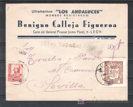 .162 SOBRE LEON A SEVILLA, FRANQUEO 823 Y LOCAL LEON G405A MATASELLADO, MARCA PATRIOTICA EN NEGRO ¡V (Sellos - Historia Postal - Sello Español - Sobres Circulados)