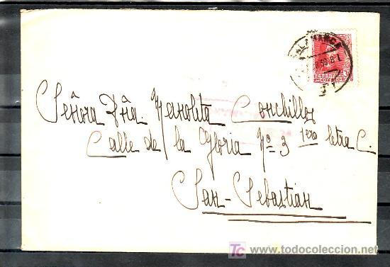 .166 SOBRE SALAMANCA A SAN SEBASTIAN, FRANQUEO 844 MATASELLO FECHADOR Y CENSURA S-7-4 (Sellos - Historia Postal - Sello Español - Sobres Circulados)