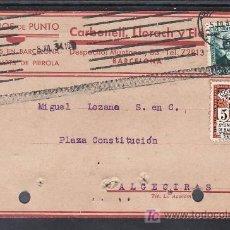 Sellos: .013 TARJETA POSTAL BARCELONA A ALGECIRAS, FRANQ. 665 Y AYUNTº 11, MATº RODILLO TIPO 5 GOMIS VARIEDA. Lote 10581896