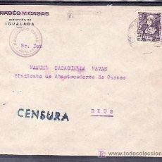 Sellos: .020 SOBRE IGUALADA A REUS FRANQ 858 MARCA CENSURA I-5-1 AZUL/VERDE MUY BONITA. Lote 10377034
