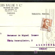 Sellos: .026 TARJETA TARRASA A ALGECIRAS FRANQ 1022 RODILLO FECHADOR MUDO VARIEDAD 38/2/56 EN LUGAR 28/2/56. Lote 10377050