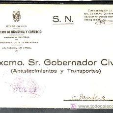 Sellos: .033 SOBRE LERIDA A BARCELONA FRANQUICIA ABASTECIMIENTOS Y TRANSPORTES, CENSURA L-16-5 AMBAS VIOLETA. Lote 10696230