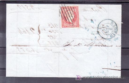 .058 CARTA MADRID A AVILA, FRANQUEO 44, MATASELLO REJILLA TORT 142 EN NEGRO Y FECHADOR TIPO 1854 AZU (Sellos - Historia Postal - Sello Español - Sobres Circulados)