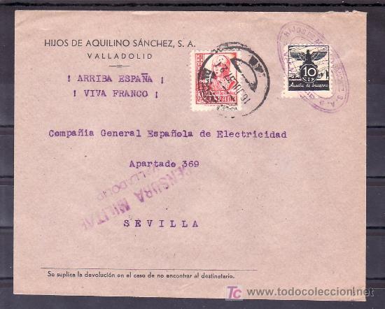 .186 SOBRE VALLADOLID A SEVILLA, FRANQUEO 823, Y AUXILIO INVIERNO 5, CENSURA V-20-6B EN VIOLETA, (Sellos - Historia Postal - Sello Español - Sobres Circulados)