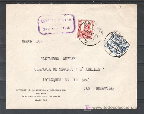 .197 SOBRE BADAJOZ A SEVILLA, FRANQUEO 823 Y LOCAL G108A MATASELLADO Y CENSURA B-1-1 EN VIOLETA (Sellos - Historia Postal - Sello Español - Sobres Circulados)