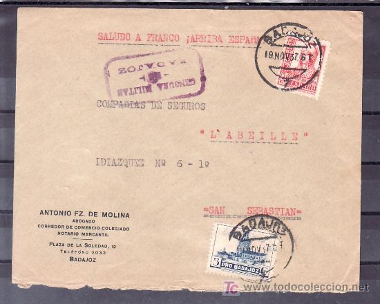 .198 SOBRE BADAJOZ A SAN SEBASTIAN, FRANQUEO 823 Y LOCAL G117, CENSURA B-1-1 EN VIOLETA (LETRAS CENS (Sellos - Historia Postal - Sello Español - Sobres Circulados)