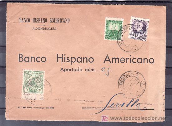 .204 SOBRE ALMENDRALEJO (BADAJOZ) A SEVILLA, FRANQUEO REPUBLICA Y LOCAL G107A MATASELLADOS (Sellos - Historia Postal - Sello Español - Sobres Circulados)