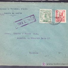 Sellos: .215 SOBRE FUENTE DE CANTOS (BADAJOZ) A SEVILLA, FRANQUEO 823 Y LOCAL G107A MATASELLADOS, RARA MARCA. Lote 10893407