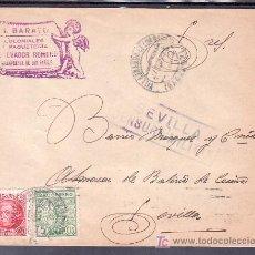 Sellos: .239 SOBRE VILLAFRANCA DE LOS BARROS (BADAJOZ) A SEVILLA, FRANQUEO REPUBLICA 687 Y LOCAL G107A MAT +. Lote 11305370