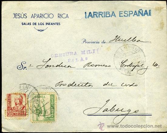SOBRE CENSURA MILITAR SALAS DE LOS INFANTES .BURGOS (Sellos - Historia Postal - Sello Español - Sobres Circulados)