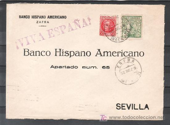.249 SOBRE ZAFRA (BADAJOZ) A SEVILLA, FRANQUEO REPUBLICA 687 Y LOCAL G107A MATASELLADO, + (Sellos - Historia Postal - Sello Español - Sobres Circulados)
