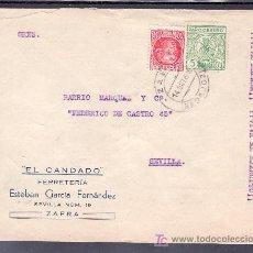 Sellos - .251 SOBRE ZAFRA (BADAJOZ) A SEVILLA, FRANQUEO REPUBLICA 687 Y LOCAL G 107A MATASELLADO, AL DORSO + - 11192049
