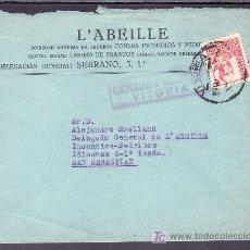 Sellos: .279 SOBRE VITORIA A SAN SEBASTIAN, FRANQUEO 823, CENSURA V-99-2 EN VIOLETA, . Lote 10418202