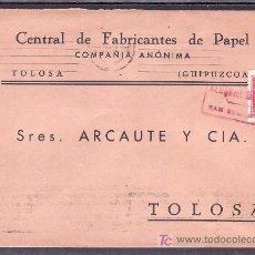 Sellos: .287 SOBRE SAN SEBASTIAN A TOLOSA, FRANQUEO 844, CENSURA S-42-6 MATASELLANDO, AL DORSO RODILLO MUDO+. Lote 11983360