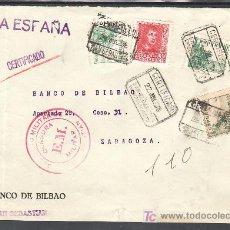 Sellos: .288 FRONTAL SAN SEBASTIAN A ZARAGOZA, FRANQUEO ESTADO ESPAÑOL, MATASELLO CERTIFICADO SAN SEBASTIAN+. Lote 11571306