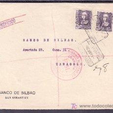 Sellos: .289 FRONTAL SAN SEBASTIAN A ZARAGOZA, FRANQUEO ESTADO ESPAÑOL, MATASELLO CERTIFICADO SAN SEBASTIAN+. Lote 10391719