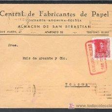 Sellos - .295 SOBRE SAN SEBASTIAN A TOLOSA (GUIPUZCOA), FRANQUEO 844, CENSURA S-42-17 EN ROJO, - 10671149