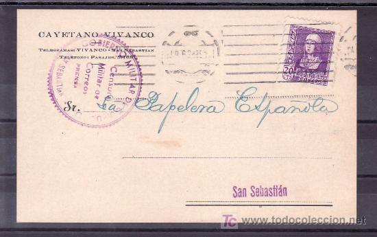 .301 TARJETA SAN SEBASTIAN INTERIOR, FRANQUEO 855, CENSURA S-42-26B EN VIOLETA PRENSA (Sellos - Historia Postal - Sello Español - Sobres Circulados)