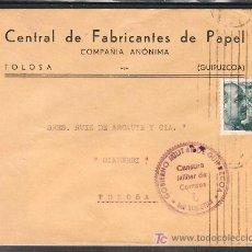 Sellos: .308 SOBRE SAN SEBASTIAN A TOLOSA (GUIPUZCOA), FRANQUEO 870, CENSURA S-42-41 EN VIOLETA LETRA L. Lote 10391704