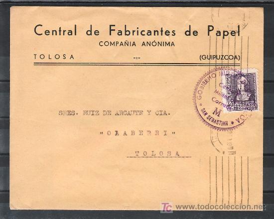 .309 SOBRE SAN SEBASTIAN A TOLOSA (GUIPUZCOA), FRANQUEO 858 MATASELLADO 31-4-.39, CENSURA S-42-42 + (Sellos - Historia Postal - Sello Español - Sobres Circulados)
