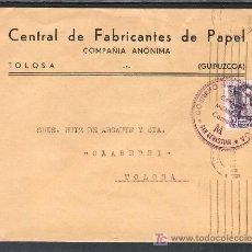 Sellos: .309 SOBRE SAN SEBASTIAN A TOLOSA (GUIPUZCOA), FRANQUEO 858 MATASELLADO 31-4-.39, CENSURA S-42-42 + . Lote 10391703
