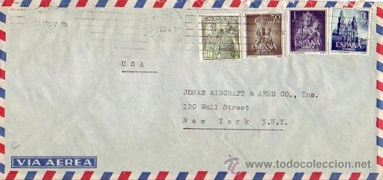 AÑO SANTO COMPOSTELANO 3 PTS (EDIFIL 1131) Y OTROS EN CARTA CIRCULADA 1954 DE MADRID A NUEVA YORK. (Sellos - Historia Postal - Sello Español - Sobres Circulados)