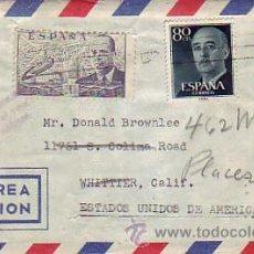 Sellos: DE LA CIERVA (4 PTAS) Y GENERAL FRANCO EN CARTA CIRCULADA POR AVION 1955 DE MADRID A USA LLEGADA MPM. Lote 8767721
