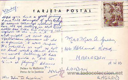 GENERAL FRANCO 2 PTAS EN TARJETA PATIO JUSTICIA PALMA DE MALLORCA BALEARES CIRCULADA A LONDRES. MPM. (Sellos - Historia Postal - Sello Español - Sobres Circulados)