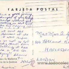 Sellos: GENERAL FRANCO 2 PTAS EN TARJETA PATIO JUSTICIA PALMA DE MALLORCA BALEARES CIRCULADA A LONDRES. MPM.. Lote 8772352