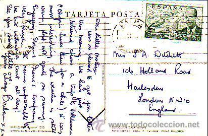 DE LA CIERVA 2 PTAS EN TARJETA POSTAL EL COLOMERET CIRCULADA 1954 DE PALMA DE MALLORCA A LONDRES MPM (Sellos - Historia Postal - Sello Español - Sobres Circulados)
