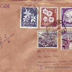 Sellos: ANDORRA ESPAÑOLA: VARIADO FRANQUEO CARTA CERTIFICADA CIRCULADA 1957 DE ANDORRA LA VIEJA A INGLATERRA. Lote 24882839