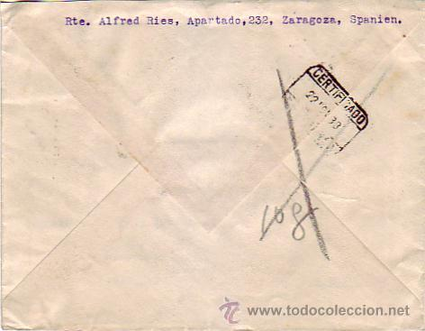 Sellos: FRENTE Y HOSPITALES EN CARTA CIRCULADA 1938 DE ZARAGOZA A SUIZA. CENSURA POSTAL V REGION MILITAR. - Foto 2 - 22690818