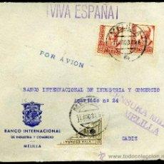 Sellos: FRONTRAL DE SOBRE CON CENSURA MILITAR DE MELILLA. Lote 26490417