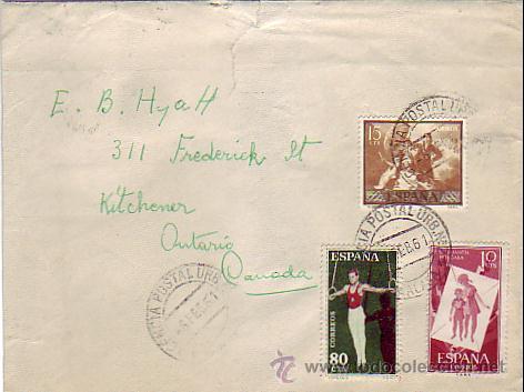 DEPORTES 1960 GOYA Y PRO INFANCIA HUNGARA EN CARTA CIRCULADA 1961 DE MALAGA A ONTARIO (CANADA). MPM. (Sellos - Historia Postal - Sello Español - Sobres Circulados)
