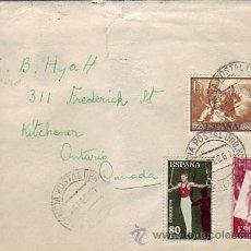 Sellos: DEPORTES 1960 GOYA Y PRO INFANCIA HUNGARA EN CARTA CIRCULADA 1961 DE MALAGA A ONTARIO (CANADA). MPM.. Lote 8961780
