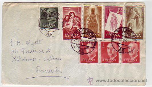 NAVIDAD 1959 GENERAL FRANCO MONTSERRAT Y OTROS EN CARTA CIRCULADA 1960 DE VALENCIA A CANADA. MPM. (Sellos - Historia Postal - Sello Español - Sobres Circulados)