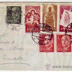 Sellos: NAVIDAD 1959 GENERAL FRANCO MONTSERRAT Y OTROS EN CARTA CIRCULADA 1960 DE VALENCIA A CANADA. MPM.. Lote 9003357