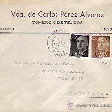 Sellos - CARTA COMERCIAL (VDA. DE CARLOS PEREZ ALVAREZ) CIRCULADA 1969 DE TUY (PONTEVEDRA) A BARCELONA. - 9029287