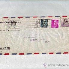 Sellos: 10 PESETAS DE LA CIERVA Y GENERAL FRANCO CARTA COMERCIAL CIRCULADA 1957 BARCELONA-USA. RODILLO MUDO.. Lote 25207105