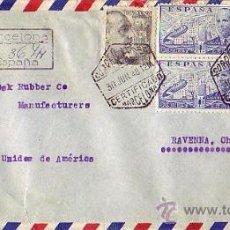 Sellos: GENERAL FRANCO Y DE LA CIERVA CARTA COMERCIAL (F PUIG) 1948 CORREO AEREO CERTIFICADO BARCELONA-USA.. Lote 25207113