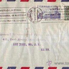 Sellos: FRANCO 10 PTS.Y DE LA CIERVA EN CARTA CIRCULADA 1959 BARCELONA A USA. RODILLO VISITAD LA FERIA INTER. Lote 25207108